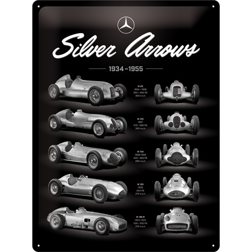 Mercedes Benz-Silver Arrow Kyltti 30 x 40 cm